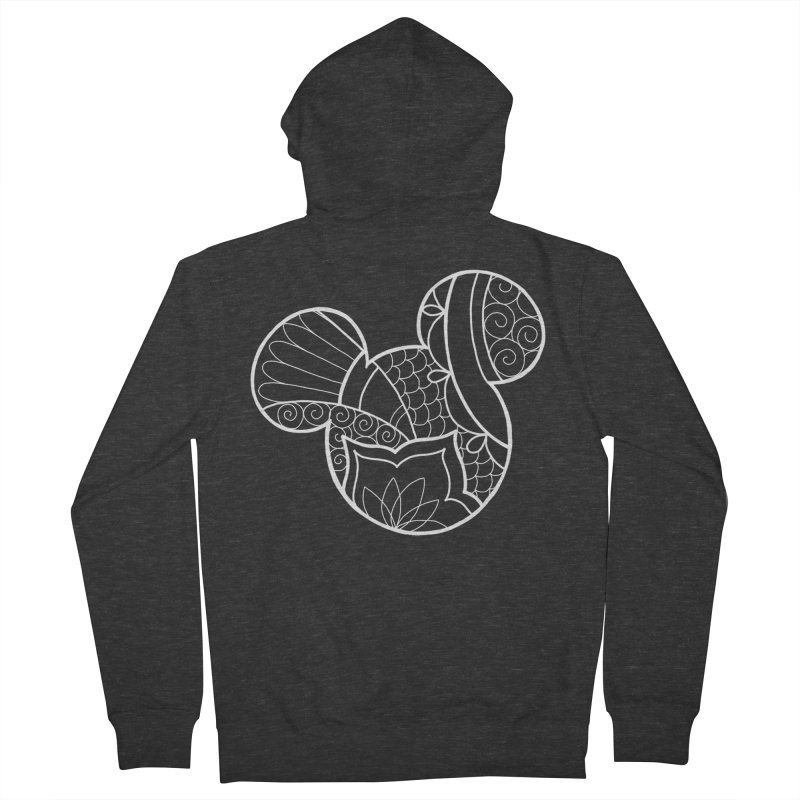 Ornamental Mickey White in Women's French Terry Zip-Up Hoody Smoke by Jocelyn Tattoo