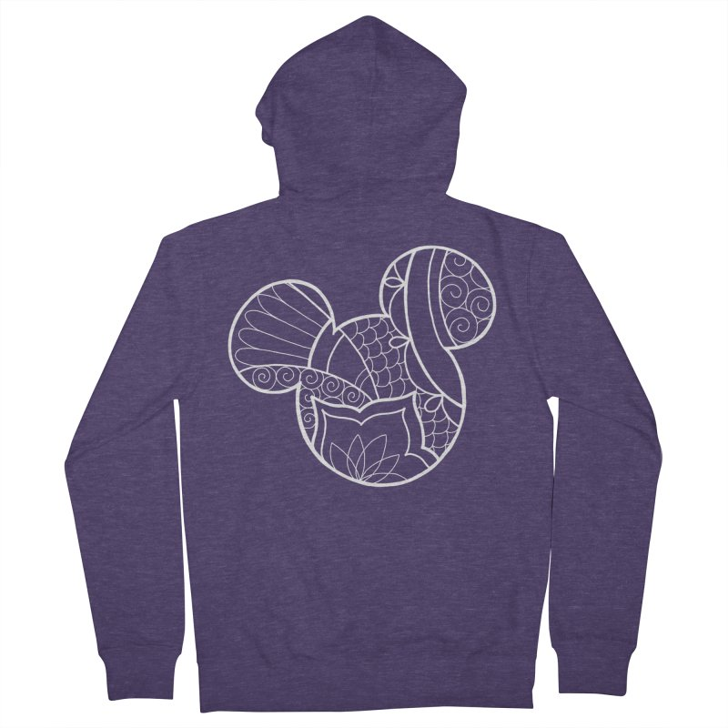 Ornamental Mickey White Men's French Terry Zip-Up Hoody by Jocelyn Tattoo