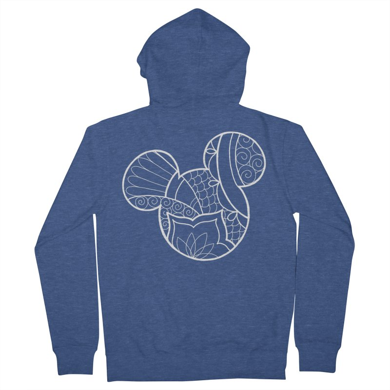 Ornamental Mickey White Men's Zip-Up Hoody by Jocelyn Tattoo