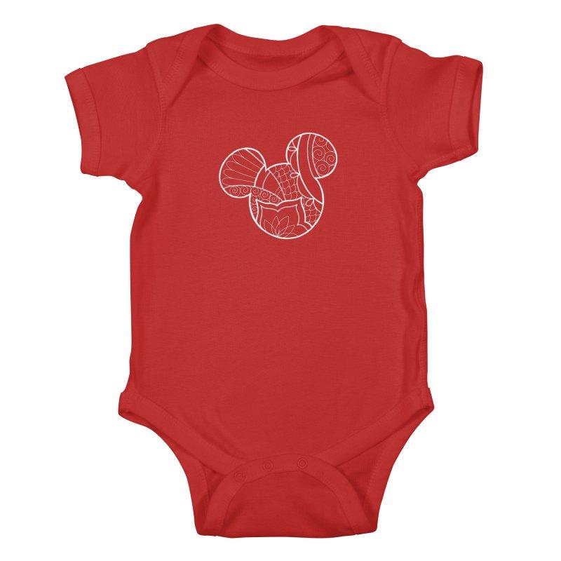 Ornamental Mickey White Kids Baby Bodysuit by Jocelyn Tattoo