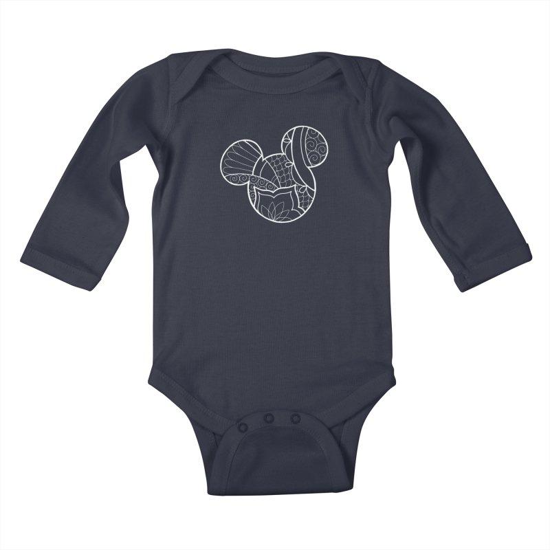 Ornamental Mickey White Kids Baby Longsleeve Bodysuit by Jocelyn Tattoo