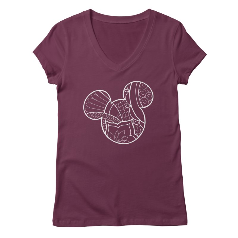 Ornamental Mickey White Women's Regular V-Neck by Jocelyn Tattoo