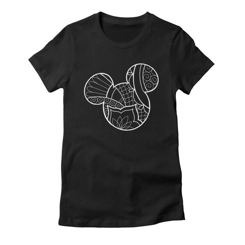 Ornamental Mickey White Women's Fitted T-Shirt by Jocelyn Tattoo
