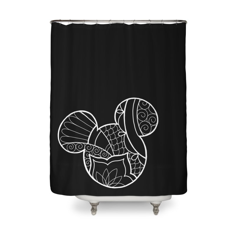 Ornamental Mickey White Home Shower Curtain by Jocelyn Tattoo