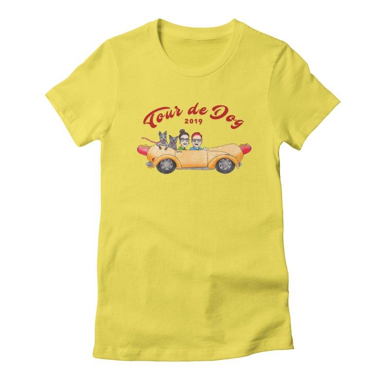 Tour de Dog - 2019 Women's Fitted T-Shirt by Jodilynn Doodles's Artist Shop