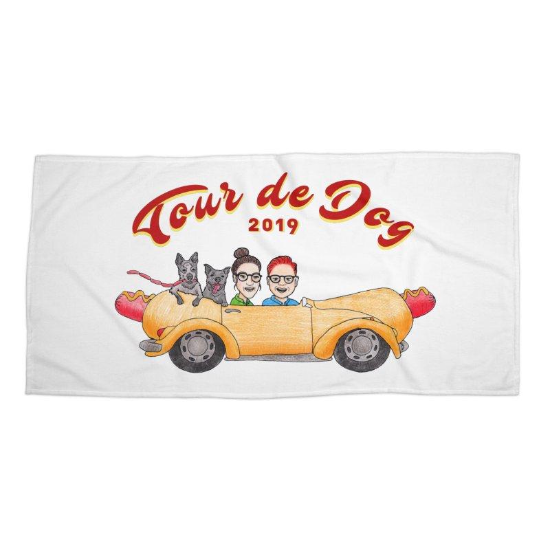 Tour de Dog - 2019 Accessories Beach Towel by Jodilynn Doodles's Artist Shop