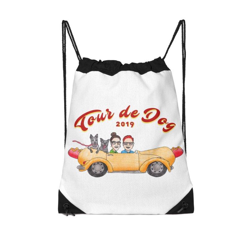 Tour de Dog - 2019 Accessories Drawstring Bag Bag by Jodilynn Doodles's Artist Shop