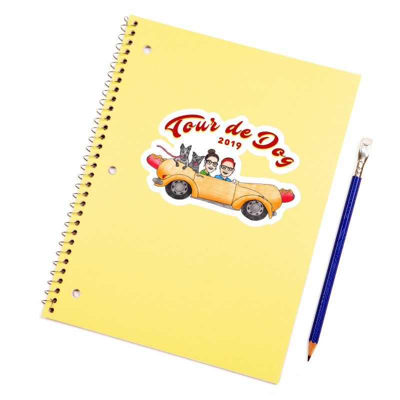 Tour de Dog - 2019 Accessories Sticker by Jodilynn Doodles's Artist Shop