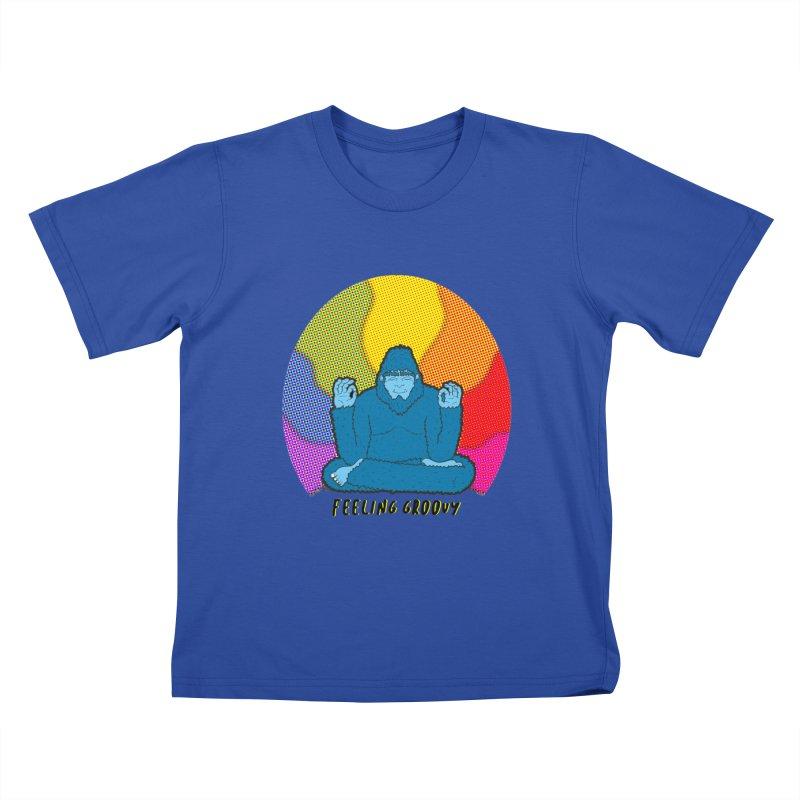 big foot feeling groovy Kids T-Shirt by Jodilynn Doodles's Artist Shop