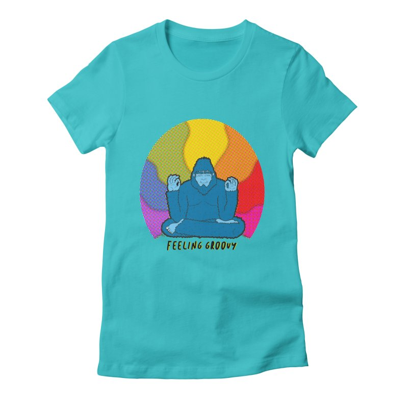 big foot feeling groovy Women's Fitted T-Shirt by Jodilynn Doodles's Artist Shop