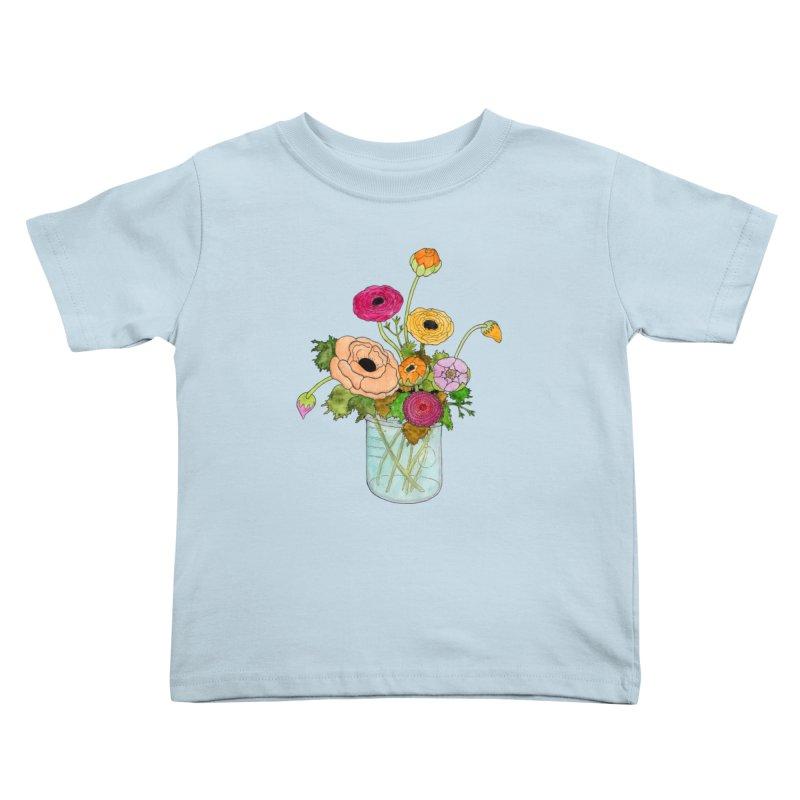 Ranunculus Flowers Kids Toddler T-Shirt by Jodilynn Doodles's Artist Shop