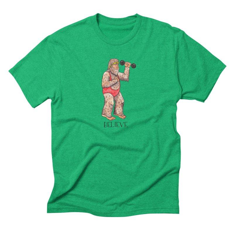 Bigfoot Believe Men's Triblend T-Shirt by jodilynndoodles's Artist Shop