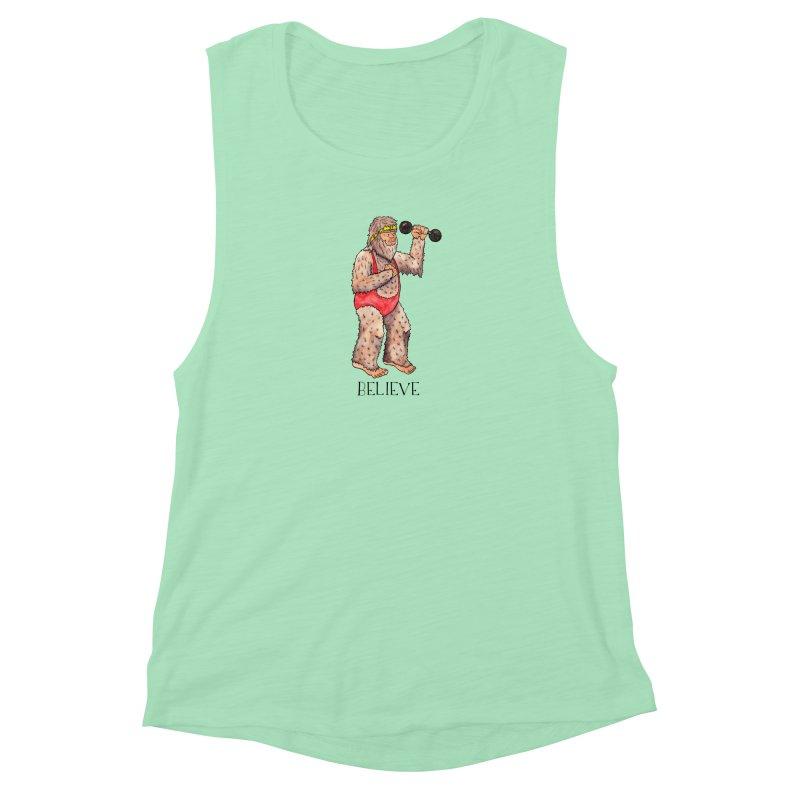 Bigfoot Believe Women's Muscle Tank by jodilynndoodles's Artist Shop