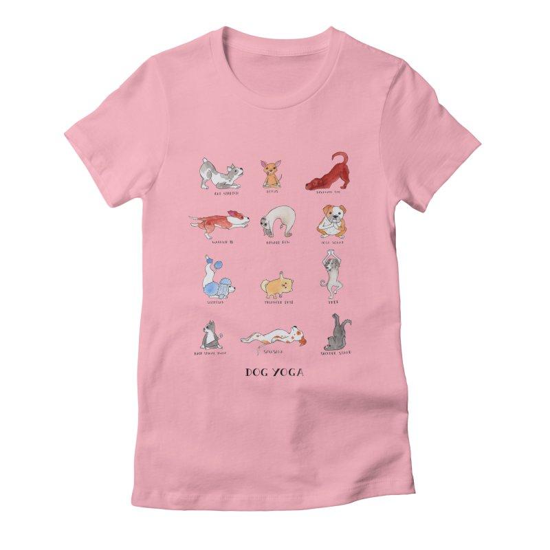 Dog Yoga Women's Fitted T-Shirt by Jodilynn Doodles's Artist Shop