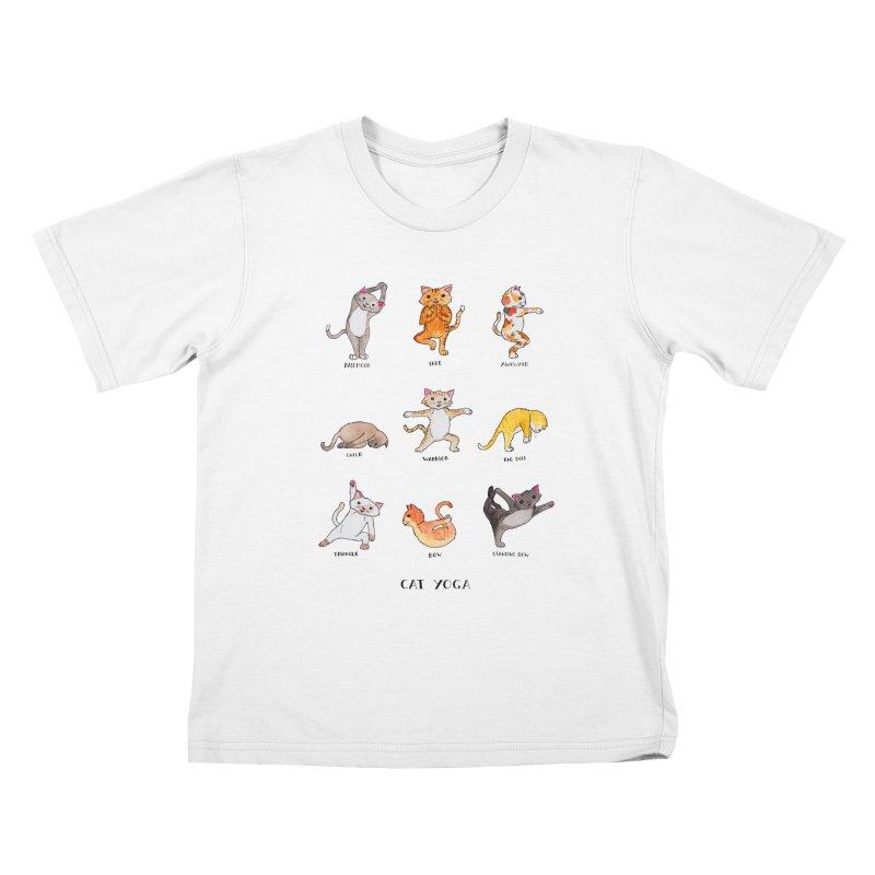 Cat yoga Kids T-Shirt by Jodilynn Doodles's Artist Shop