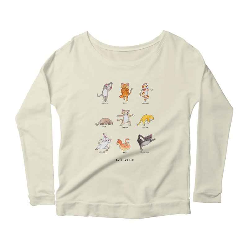 Cat yoga Women's Scoop Neck Longsleeve T-Shirt by jodilynndoodles's Artist Shop