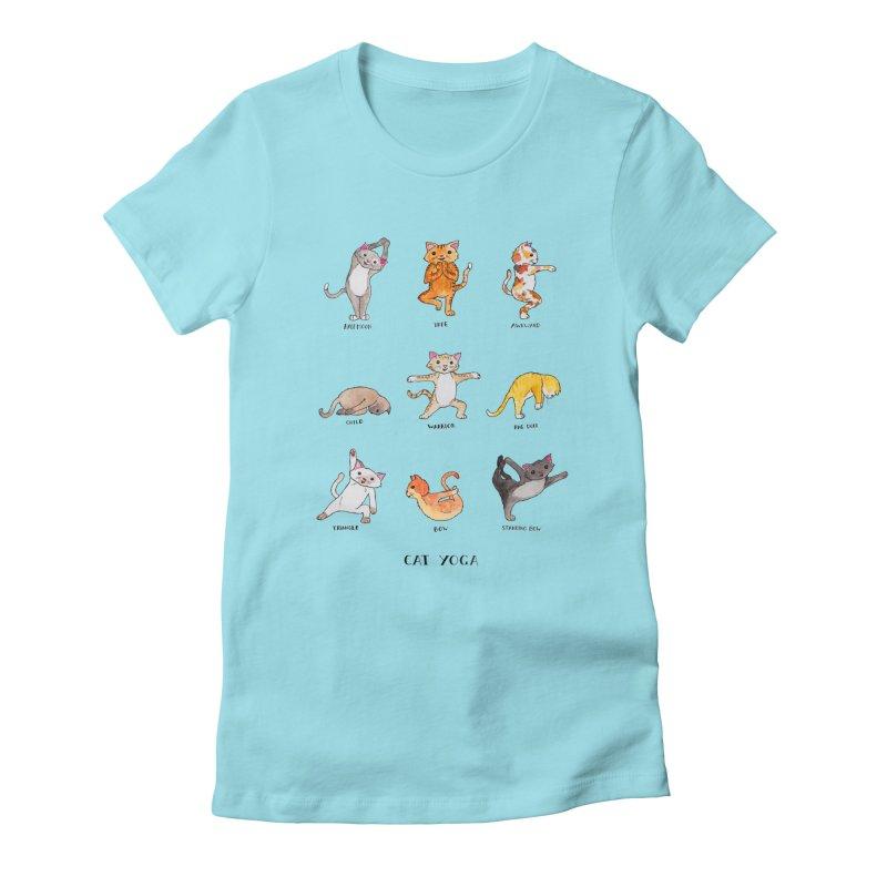Cat yoga Women's Fitted T-Shirt by Jodilynn Doodles's Artist Shop