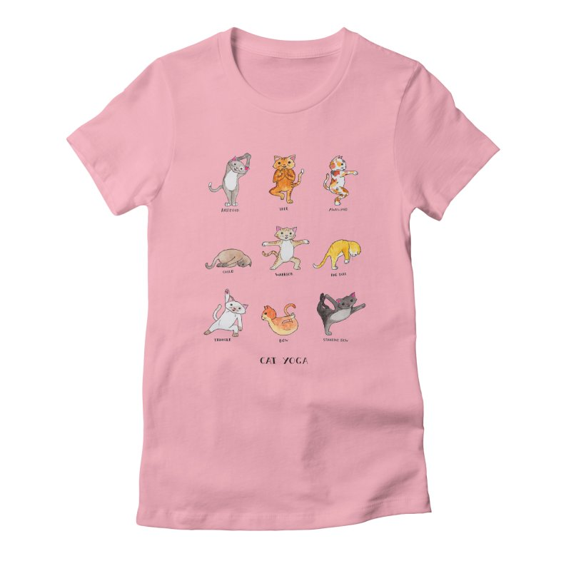 Cat yoga Women's Fitted T-Shirt by jodilynndoodles's Artist Shop