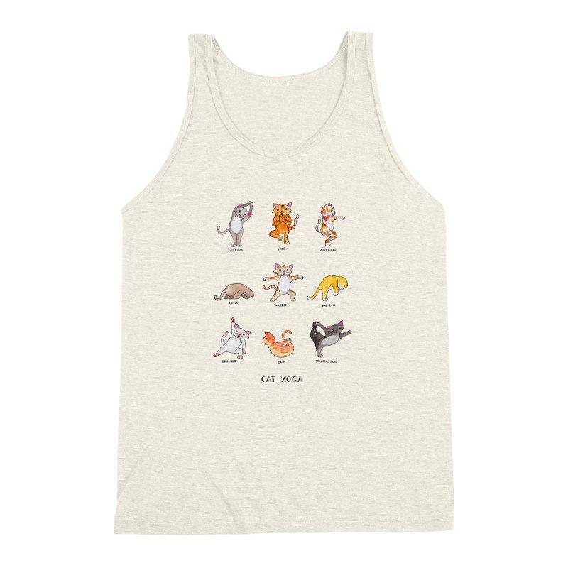 Cat yoga Men's Triblend Tank by Jodilynn Doodles's Artist Shop
