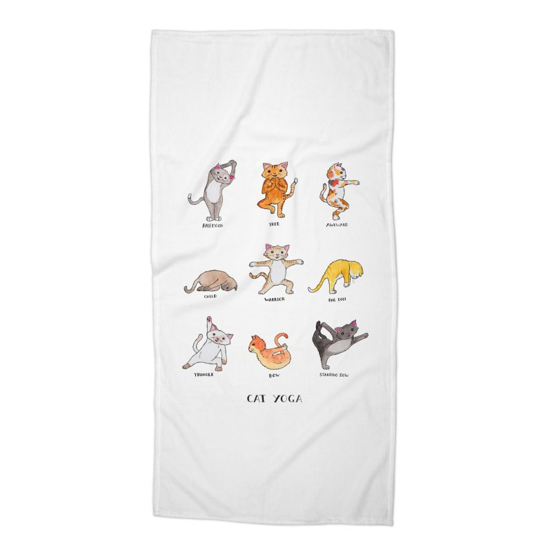 Cat yoga Accessories Beach Towel by Jodilynn Doodles's Artist Shop
