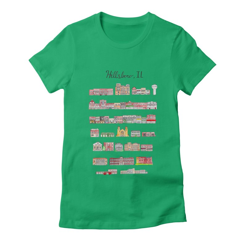 Hillsboro Illinois Women's Fitted T-Shirt by jodilynndoodles's Artist Shop