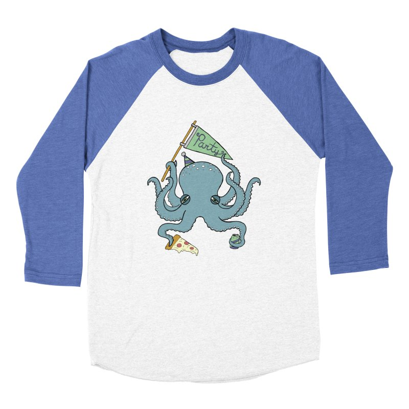 Party Octopus Men's Baseball Triblend Longsleeve T-Shirt by Jodilynn Doodles's Artist Shop