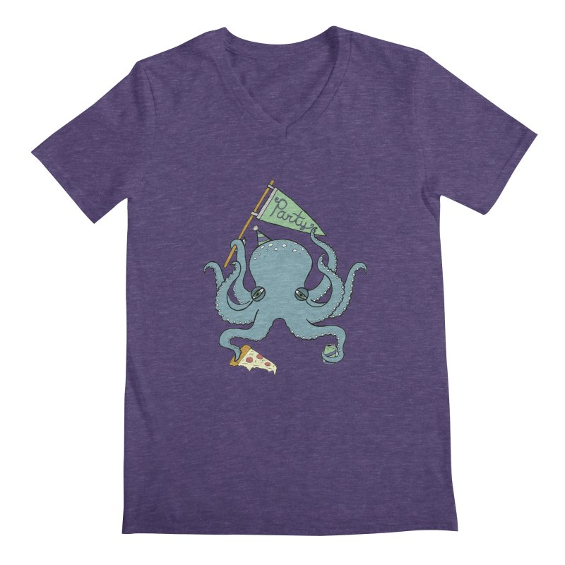 Party Octopus Men's Regular V-Neck by jodilynndoodles's Artist Shop