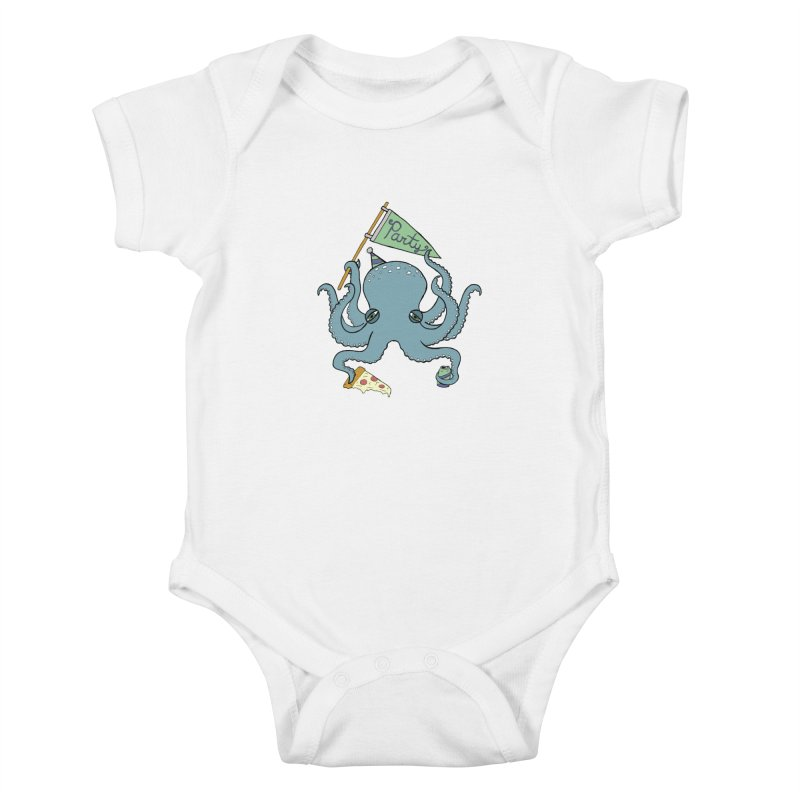 Party Octopus Kids Baby Bodysuit by jodilynndoodles's Artist Shop