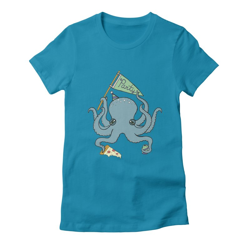 Party Octopus Women's Fitted T-Shirt by jodilynndoodles's Artist Shop