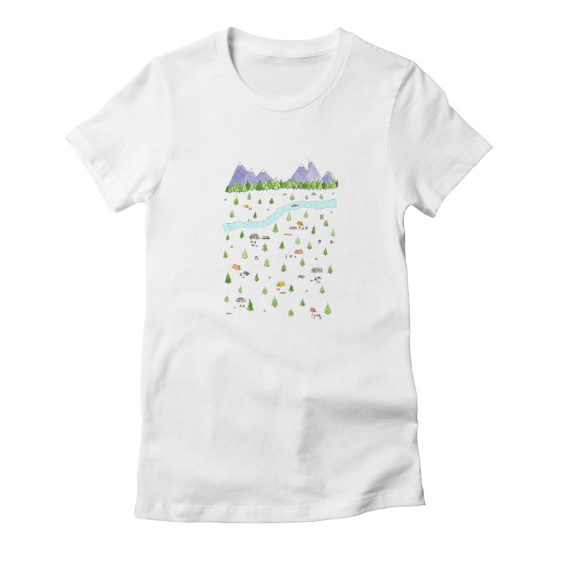 Camping Women's Fitted T-Shirt by Jodilynn Doodles's Artist Shop
