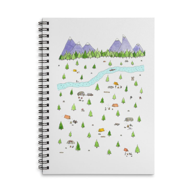 Camping Accessories Lined Spiral Notebook by Jodilynn Doodles's Artist Shop