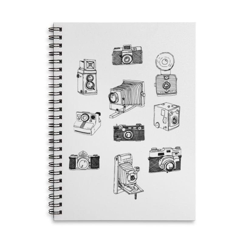 Vintage Cameras Accessories Lined Spiral Notebook by Jodilynn Doodles's Artist Shop