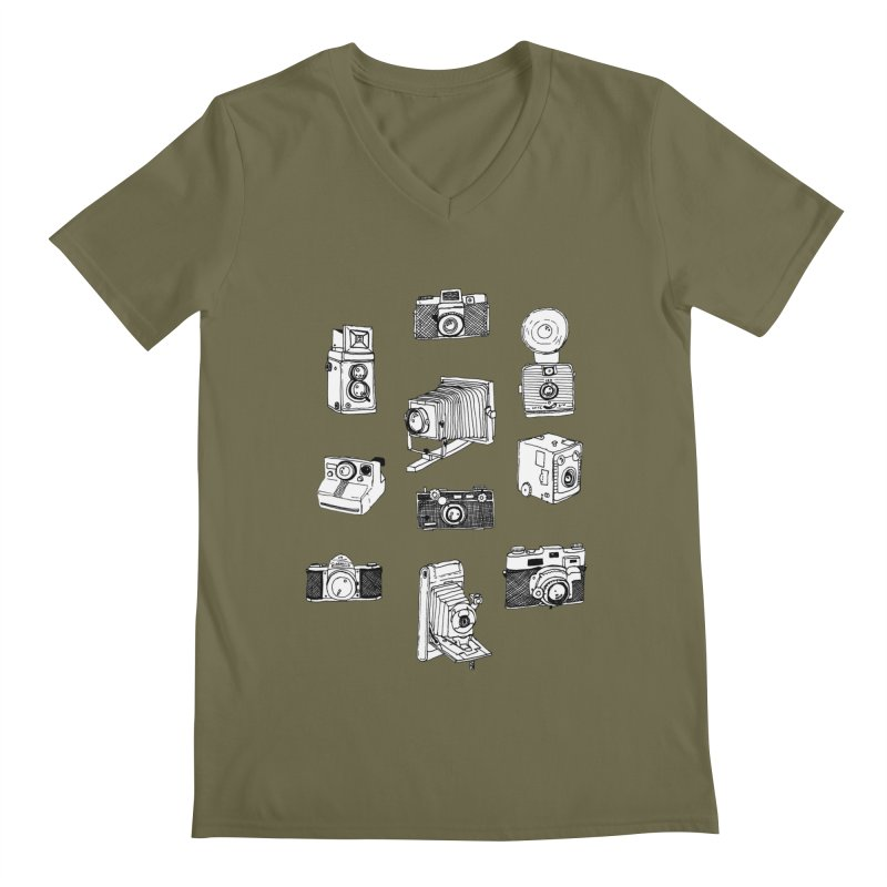 Vintage Cameras Men's Regular V-Neck by jodilynndoodles's Artist Shop