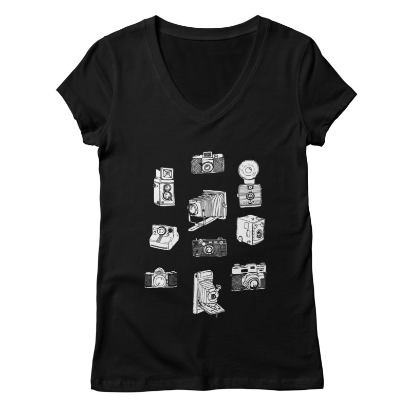 Vintage Cameras Women's Regular V-Neck by jodilynndoodles's Artist Shop