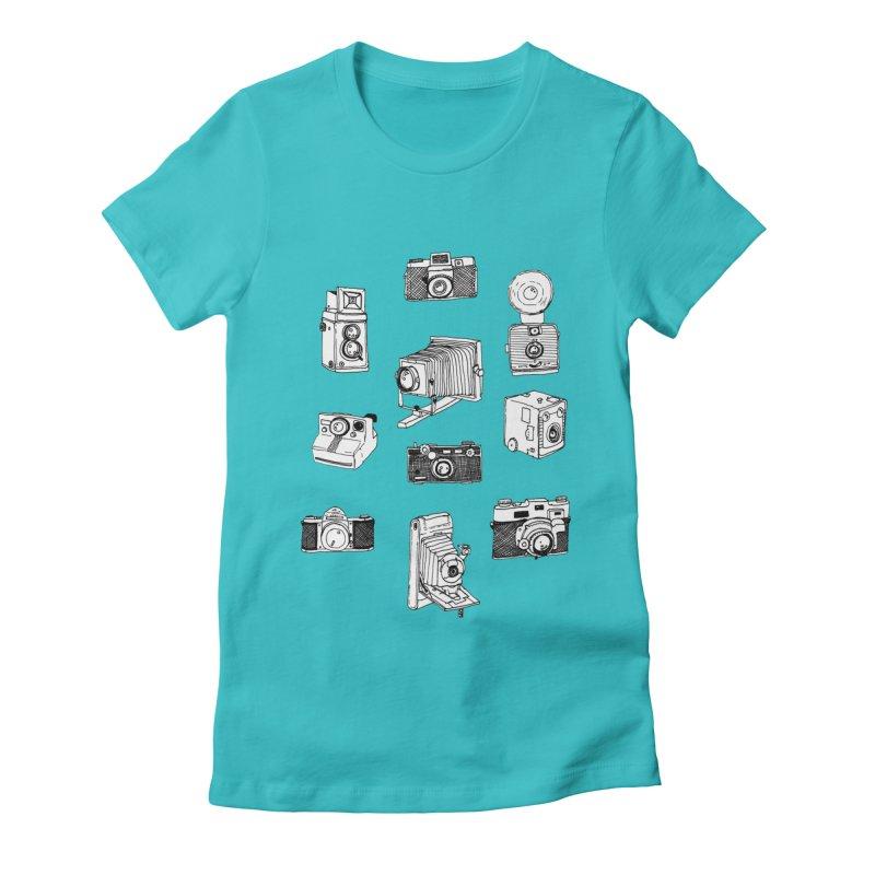 Vintage Cameras Women's Fitted T-Shirt by Jodilynn Doodles's Artist Shop