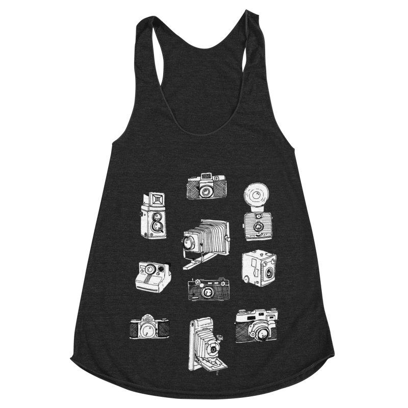 Vintage Cameras Women's Racerback Triblend Tank by Jodilynn Doodles's Artist Shop