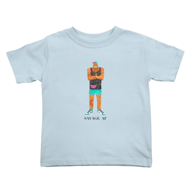 Savage Bigfoot Kids Toddler T-Shirt by Jodilynn Doodles's Artist Shop
