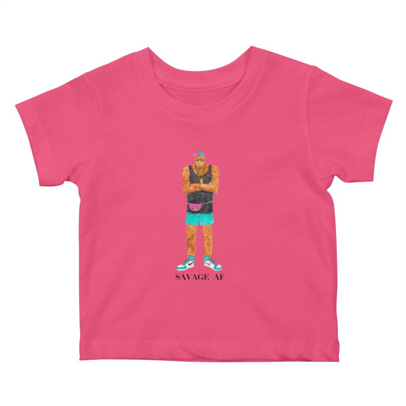 Savage Bigfoot Kids Baby T-Shirt by Jodilynn Doodles's Artist Shop