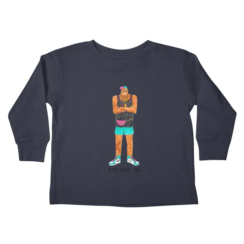 Savage Bigfoot Kids Toddler Longsleeve T-Shirt by Jodilynn Doodles's Artist Shop