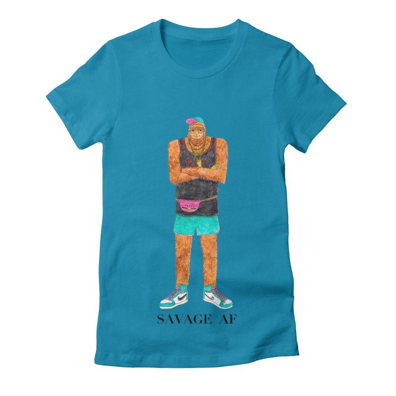 Savage Bigfoot Women's Fitted T-Shirt by Jodilynn Doodles's Artist Shop