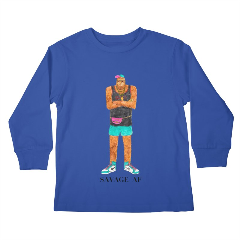 Savage Bigfoot Kids Longsleeve T-Shirt by Jodilynn Doodles's Artist Shop