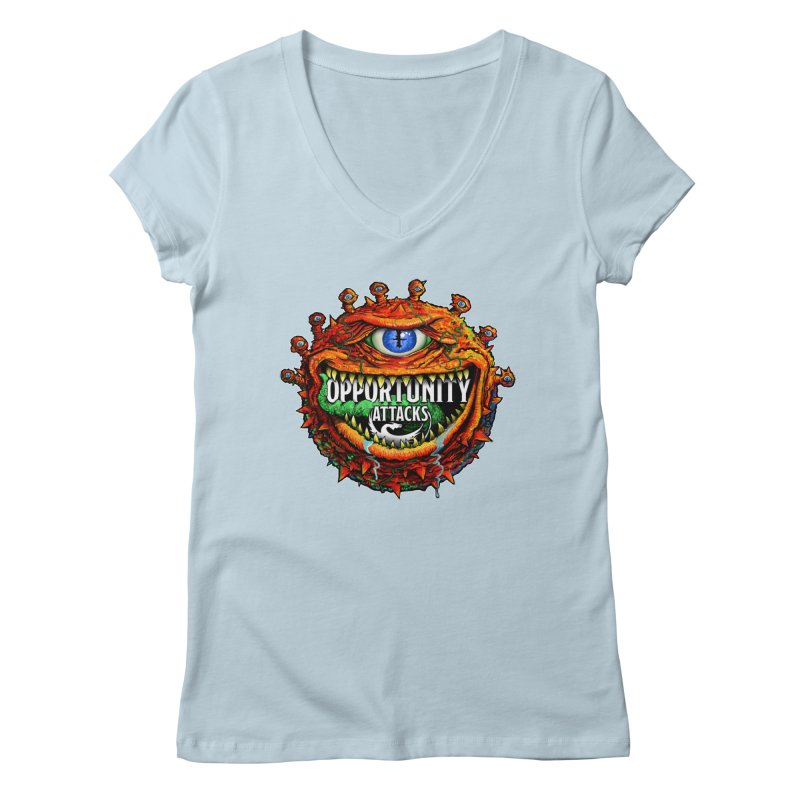Opportunity Attacks Beholder Women's Regular V-Neck by Joe Abboreno's Artist Shop