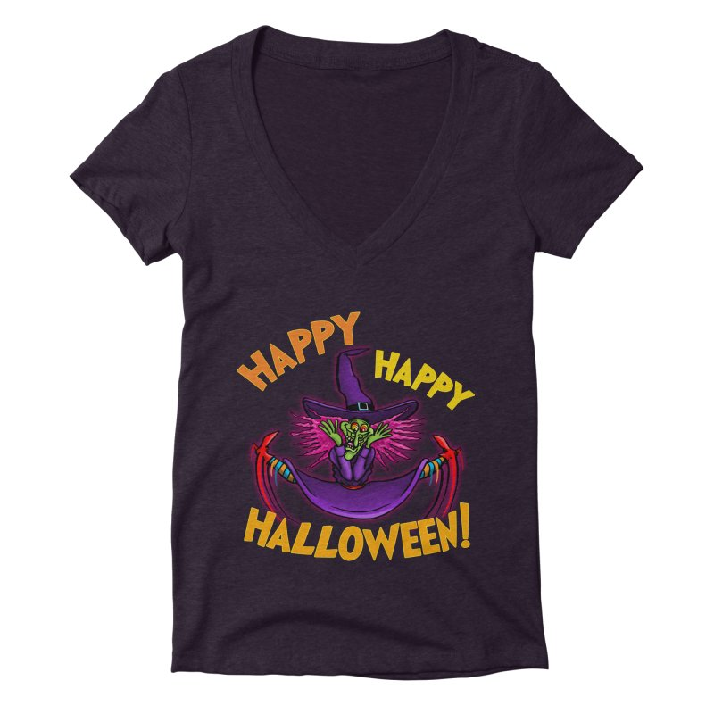 Happy Happy Halloween Witch! Women's Deep V-Neck V-Neck by Joe Abboreno's Artist Shop