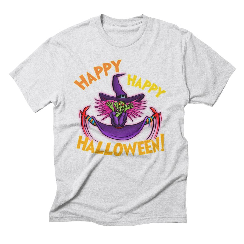 Happy Happy Halloween Witch! Men's Triblend T-Shirt by Joe Abboreno's Artist Shop