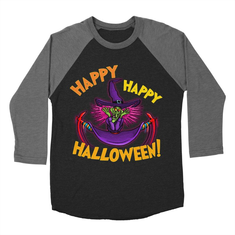 Happy Happy Halloween Witch! Men's Baseball Triblend Longsleeve T-Shirt by Joe Abboreno's Artist Shop