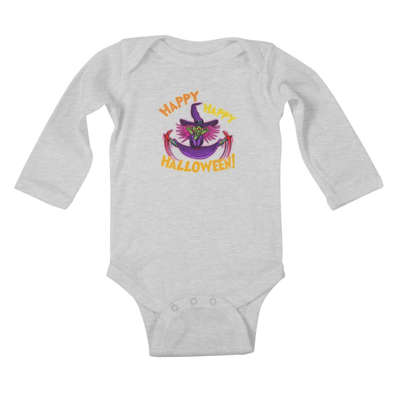 Happy Happy Halloween Witch! Kids Baby Longsleeve Bodysuit by Joe Abboreno's Artist Shop
