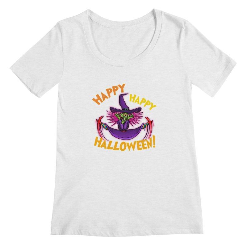 Happy Happy Halloween Witch! Women's Regular Scoop Neck by Joe Abboreno's Artist Shop