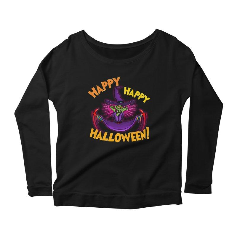 Happy Happy Halloween Witch! Women's Scoop Neck Longsleeve T-Shirt by Joe Abboreno's Artist Shop