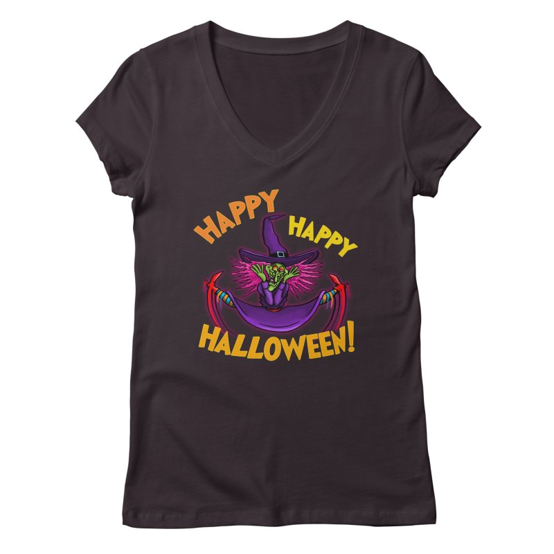 Happy Happy Halloween Witch! Women's Regular V-Neck by Joe Abboreno's Artist Shop