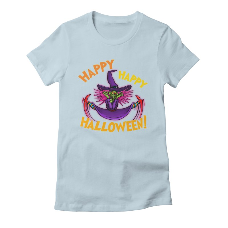Happy Happy Halloween Witch! Women's Fitted T-Shirt by Joe Abboreno's Artist Shop